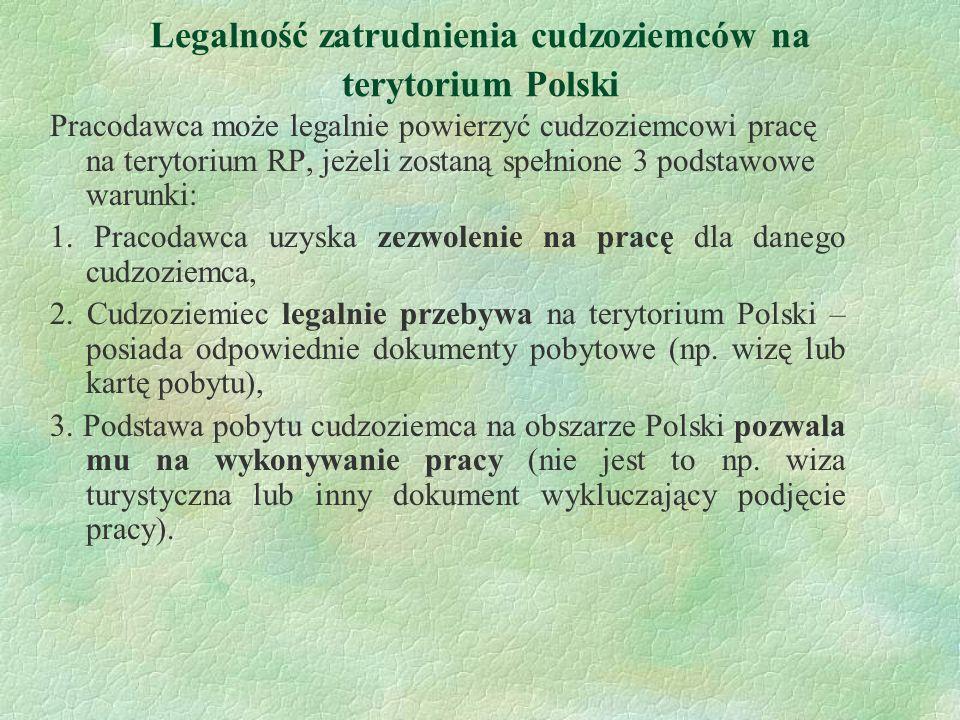 Legalność zatrudnienia cudzoziemców na terytorium Polski Pracodawca może legalnie powierzyć cudzoziemcowi pracę na terytorium RP, jeżeli zostaną spełn