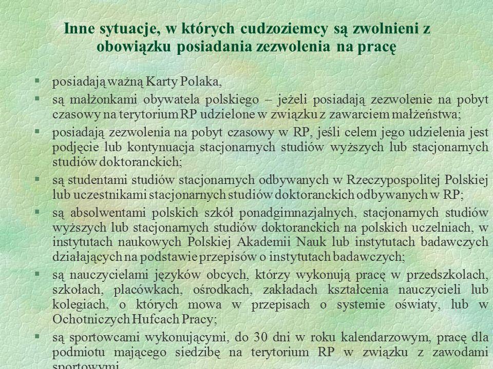 Inne sytuacje, w których cudzoziemcy są zwolnieni z obowiązku posiadania zezwolenia na pracę §posiadają ważną Karty Polaka, §są małżonkami obywatela p