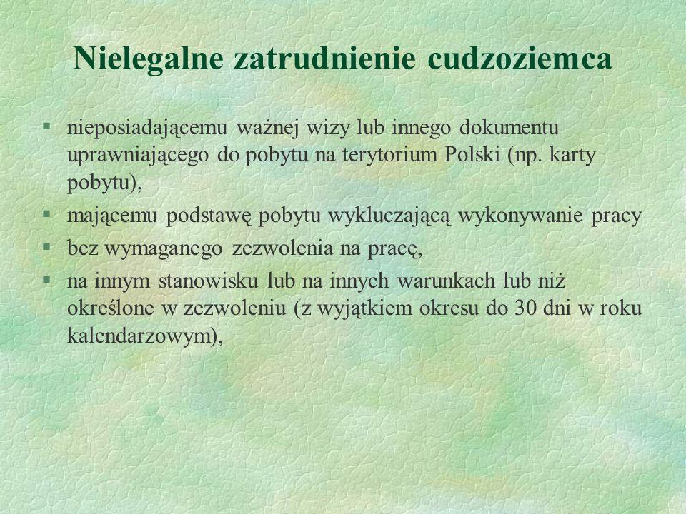 Nielegalne zatrudnienie cudzoziemca §nieposiadającemu ważnej wizy lub innego dokumentu uprawniającego do pobytu na terytorium Polski (np. karty pobytu