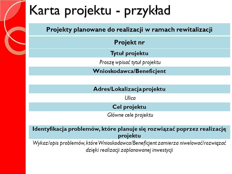 Karta projektu - przykład Projekty planowane do realizacji w ramach rewitalizacji Projekt nr Tytuł projektu Proszę wpisać tytuł projektu Wnioskodawca/