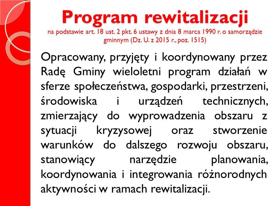Program rewitalizacji na podstawie art. 18 ust. 2 pkt. 6 ustawy z dnia 8 marca 1990 r. o samorządzie gminnym (Dz. U. z 2015 r., poz. 1515) Opracowany,