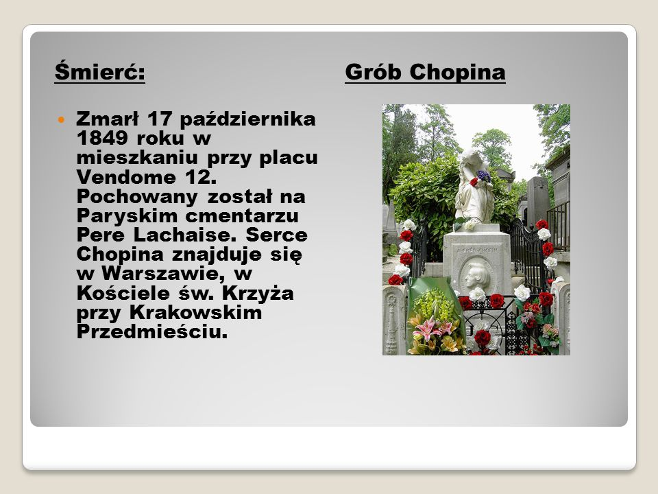 Śmierć:Grób Chopina Zmarł 17 października 1849 roku w mieszkaniu przy placu Vendome 12. Pochowany został na Paryskim cmentarzu Pere Lachaise. Serce Ch