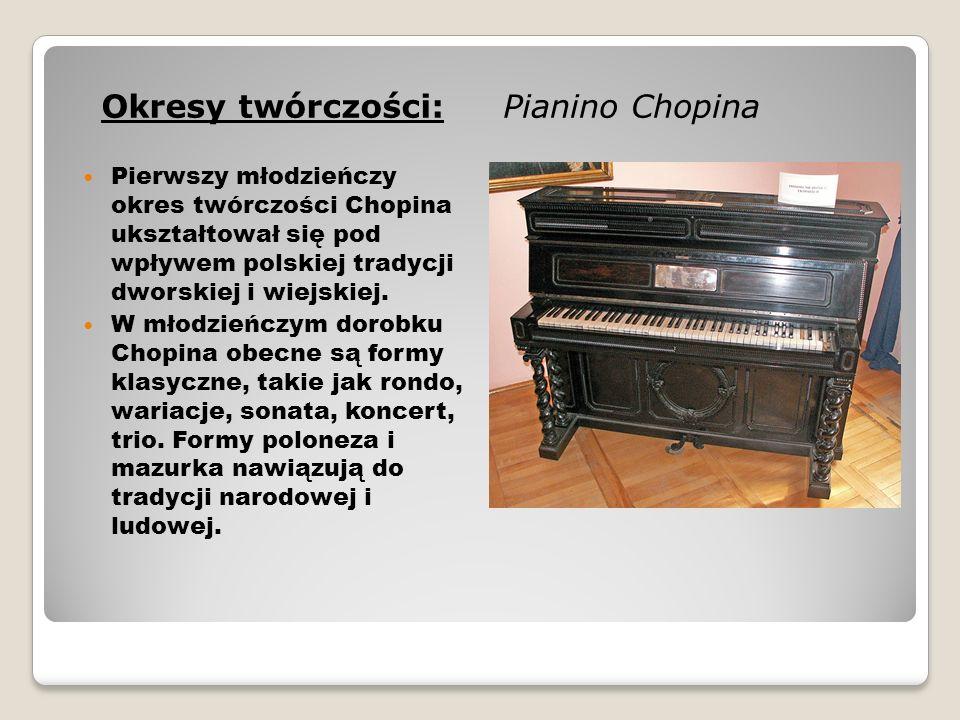 """Jego dorobek kompozytorski to m.in.: - 57 mazurków, - 16 polonezów, - 19 walców, - 19 nokturnów, - 4 ballady, - 4 scherza, - 3 sonaty fortepianowe i jedna na fortepian i wiolonczele, - 26 preludiów, - 27 etiud, - 4 impromptus, - 2 koncerty, - 4 inne utwory na fortepian z orkiestrą, - 17 pieśni, - 2 utwory na wiolonczele i fortepian, trio fortepianowe, - inne utwory fortepianowe (ronda, wariacje, marsze), kilka utworów na 4 ręce, - utwory pojedyncze: """"Fantazja , """"Barkarola , """"Berceuse , """"Tarantela , """"Bolero ."""