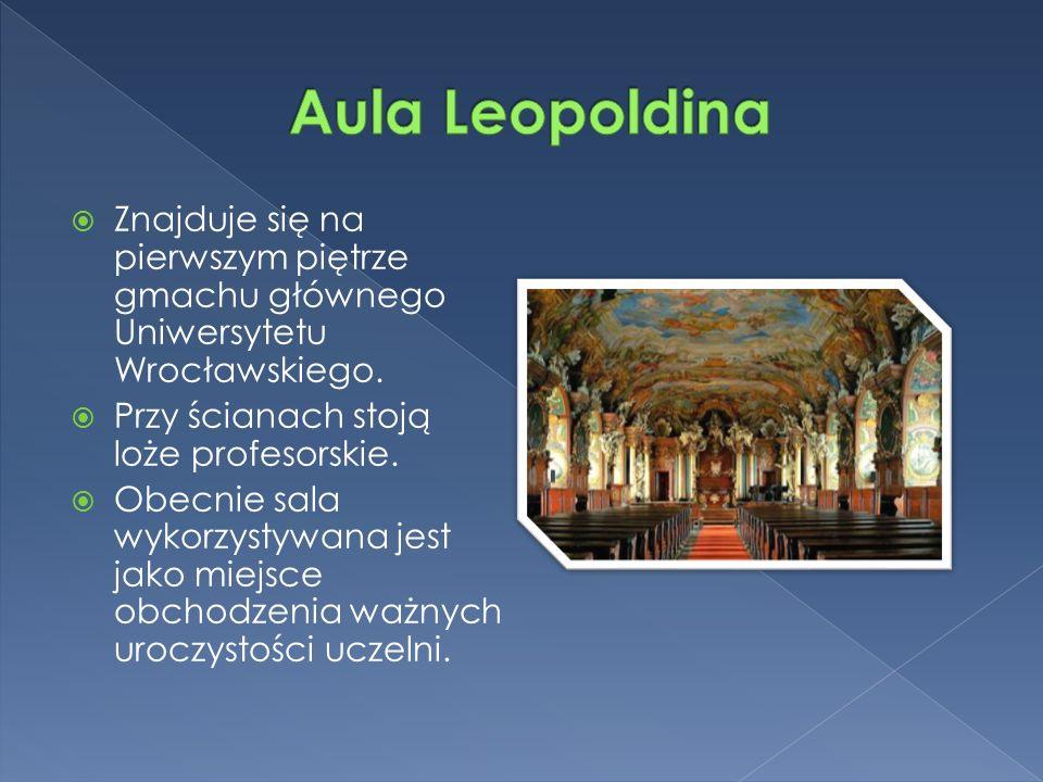  Znajduje się na pierwszym piętrze gmachu głównego Uniwersytetu Wrocławskiego.