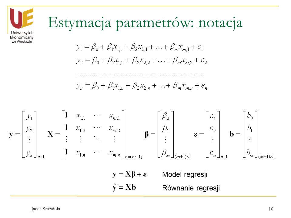 Jacek Szanduła 10 Estymacja parametrów: notacja Model regresji Równanie regresji