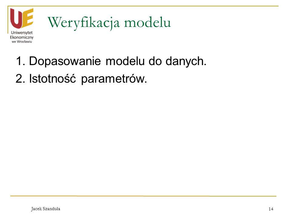 Weryfikacja modelu 1. Dopasowanie modelu do danych. 2. Istotność parametrów. Jacek Szanduła 14