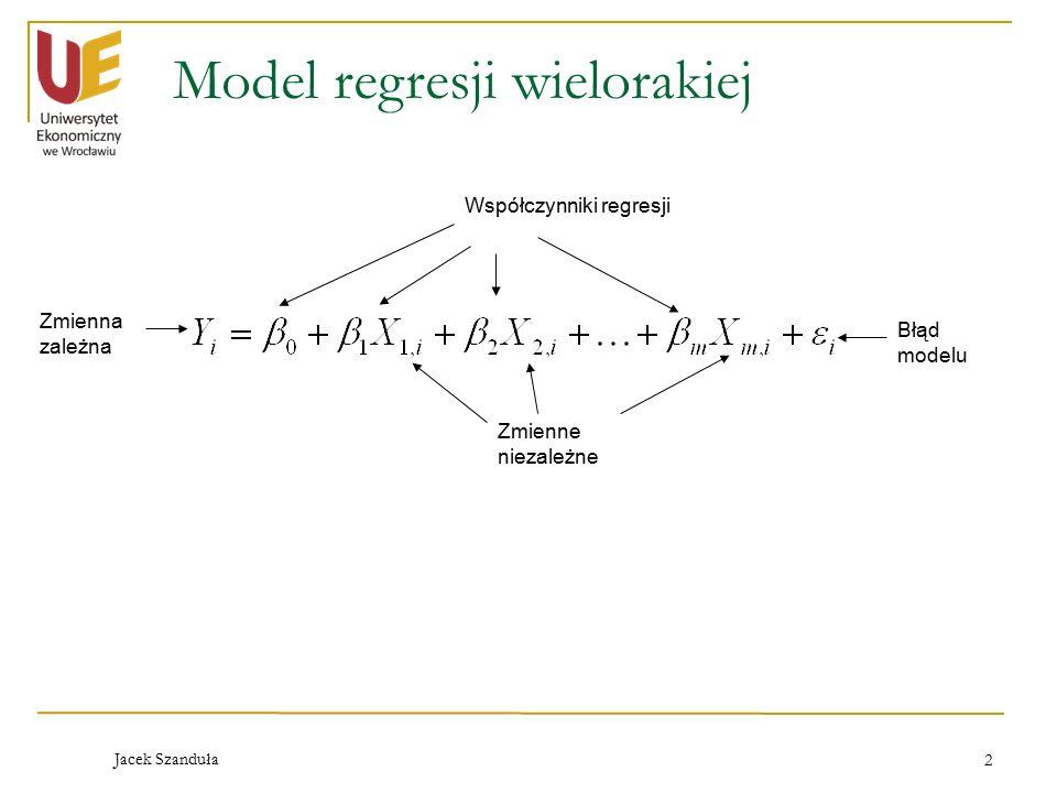 Jacek Szanduła 2 Model regresji wielorakiej Współczynniki regresji Błąd modelu Zmienna zależna Zmienne niezależne