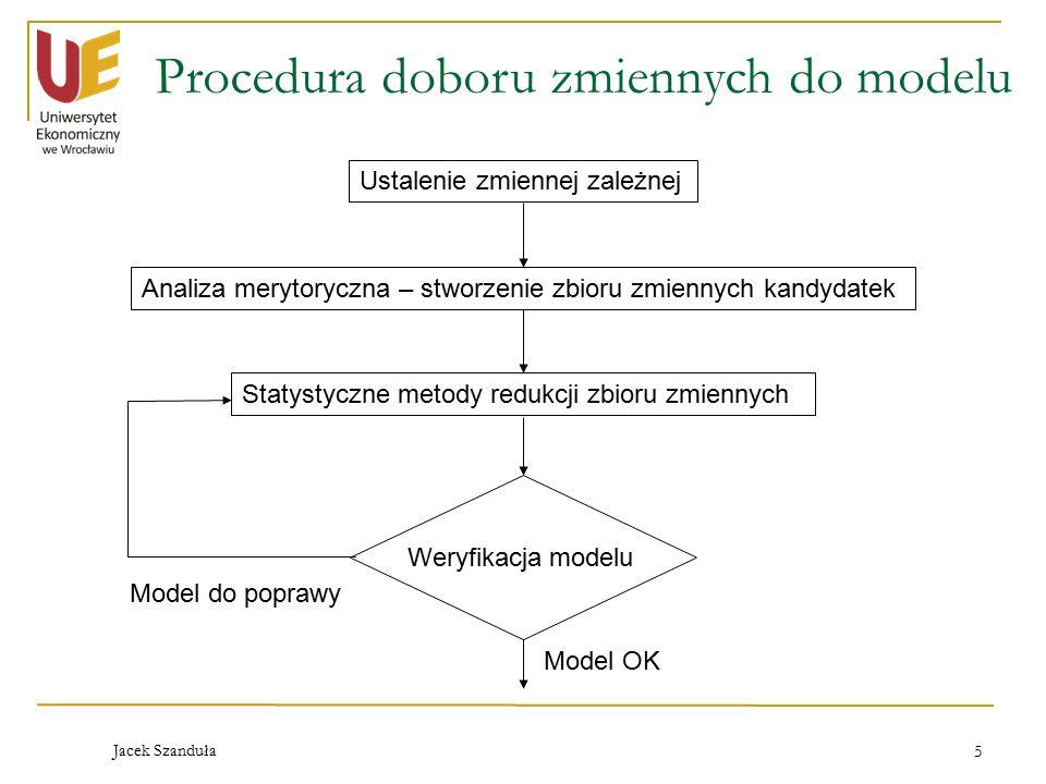 Jacek Szanduła 5 Procedura doboru zmiennych do modelu Ustalenie zmiennej zależnej Analiza merytoryczna – stworzenie zbioru zmiennych kandydatek Statystyczne metody redukcji zbioru zmiennych Weryfikacja modelu Model OK Model do poprawy
