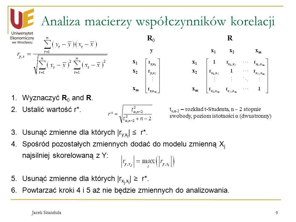 Jacek Szanduła 9 Analiza macierzy współczynników korelacji R0R0 R y x1x1 x2x2 xmxm x1x1 x2x2 xmxm x1x1 x2x2 xmxm 1.Wyznaczyć R 0 and R.