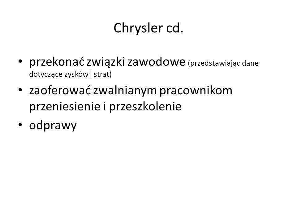 przekonać związki zawodowe (przedstawiając dane dotyczące zysków i strat) zaoferować zwalnianym pracownikom przeniesienie i przeszkolenie odprawy Chrysler cd.
