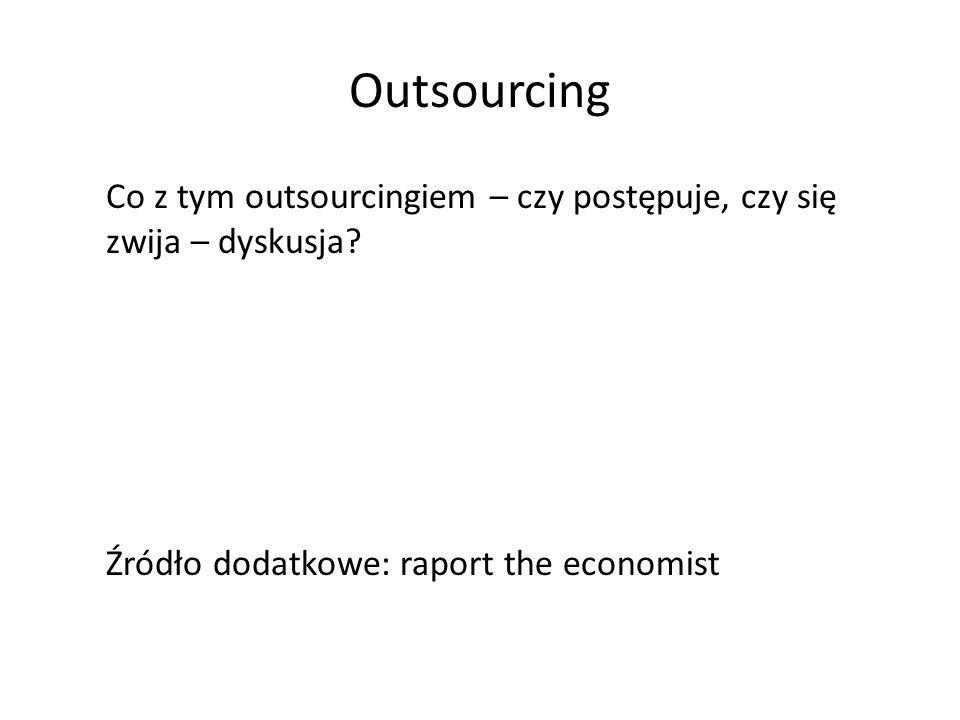 Co z tym outsourcingiem – czy postępuje, czy się zwija – dyskusja? Źródło dodatkowe: raport the economist Outsourcing