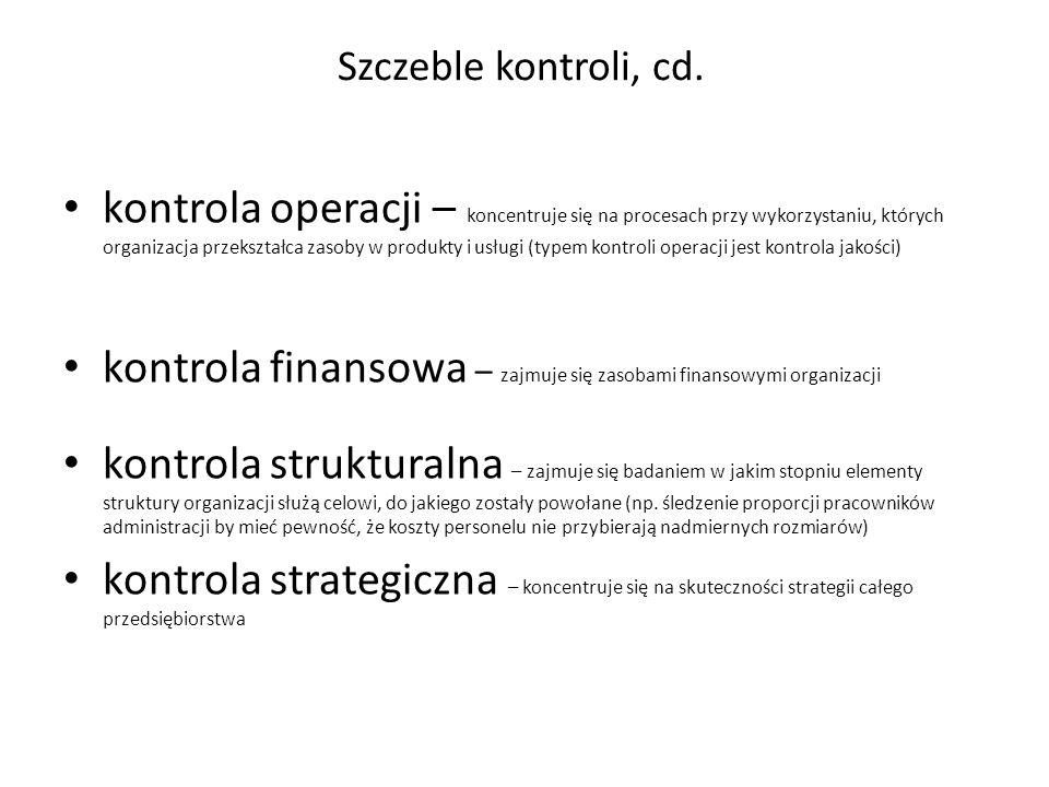 kontrola operacji – koncentruje się na procesach przy wykorzystaniu, których organizacja przekształca zasoby w produkty i usługi (typem kontroli opera