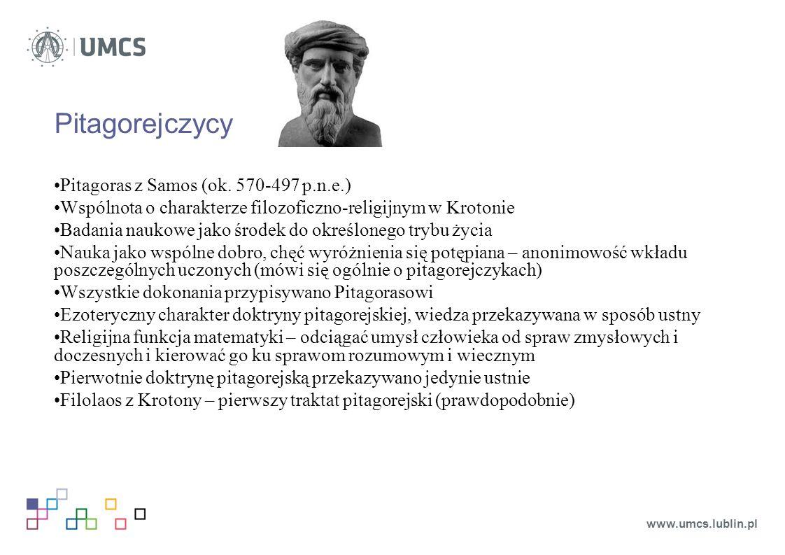 Pitagorejczycy Pitagoras z Samos (ok.