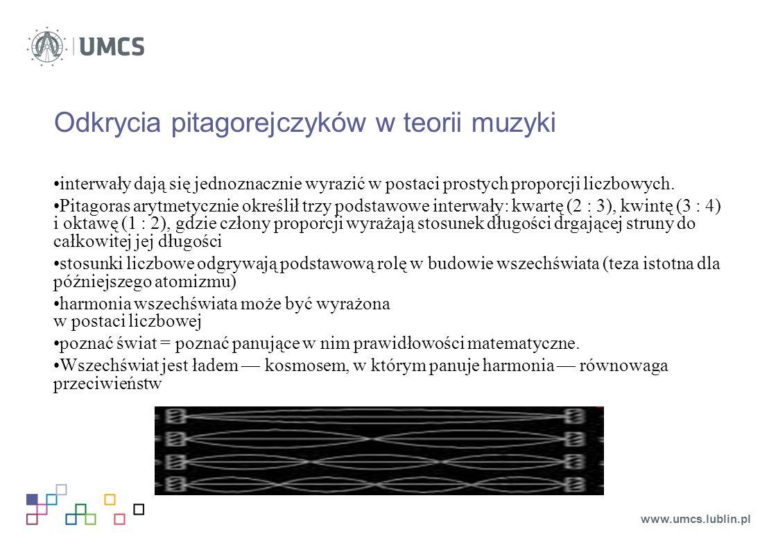 Odkrycia pitagorejczyków w teorii muzyki interwały dają się jednoznacznie wyrazić w postaci prostych proporcji liczbowych.