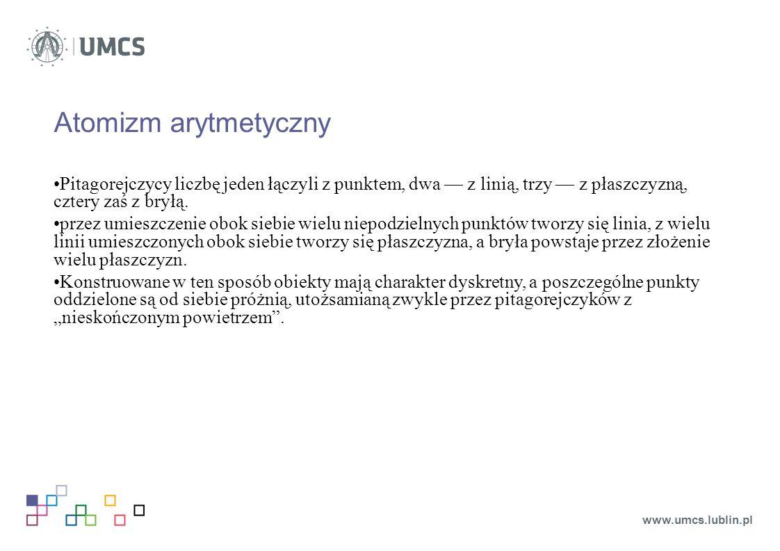 Atomizm arytmetyczny Pitagorejczycy liczbę jeden łączyli z punktem, dwa — z linią, trzy — z płaszczyzną, cztery zaś z bryłą.