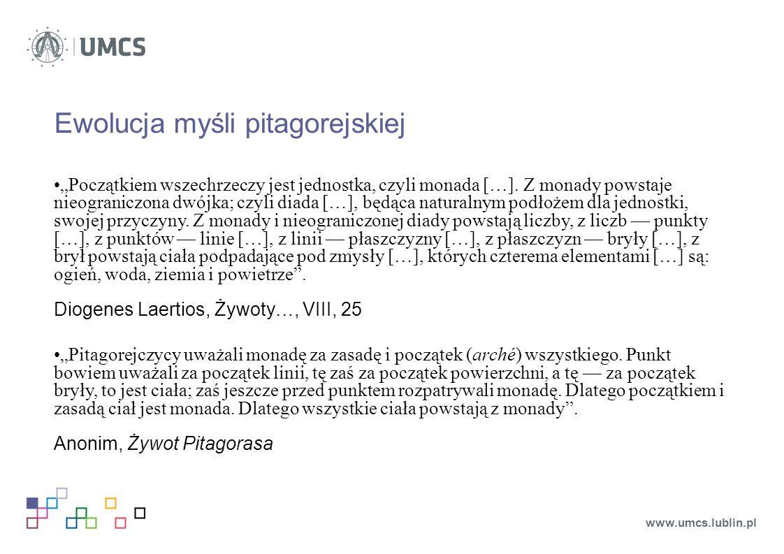"""Ewolucja myśli pitagorejskiej """"Początkiem wszechrzeczy jest jednostka, czyli monada […]."""