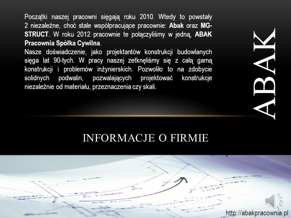 PREZENTACJA FIRMY ABAK http://abakpracownia.pl
