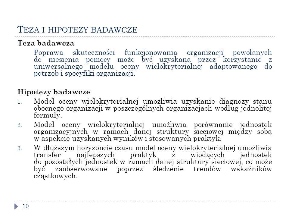 T EZA I HIPOTEZY BADAWCZE 10 Teza badawcza Poprawa skuteczności funkcjonowania organizacji powołanych do niesienia pomocy może być uzyskana przez korzystanie z uniwersalnego modelu oceny wielokryterialnej adaptowanego do potrzeb i specyfiki organizacji.