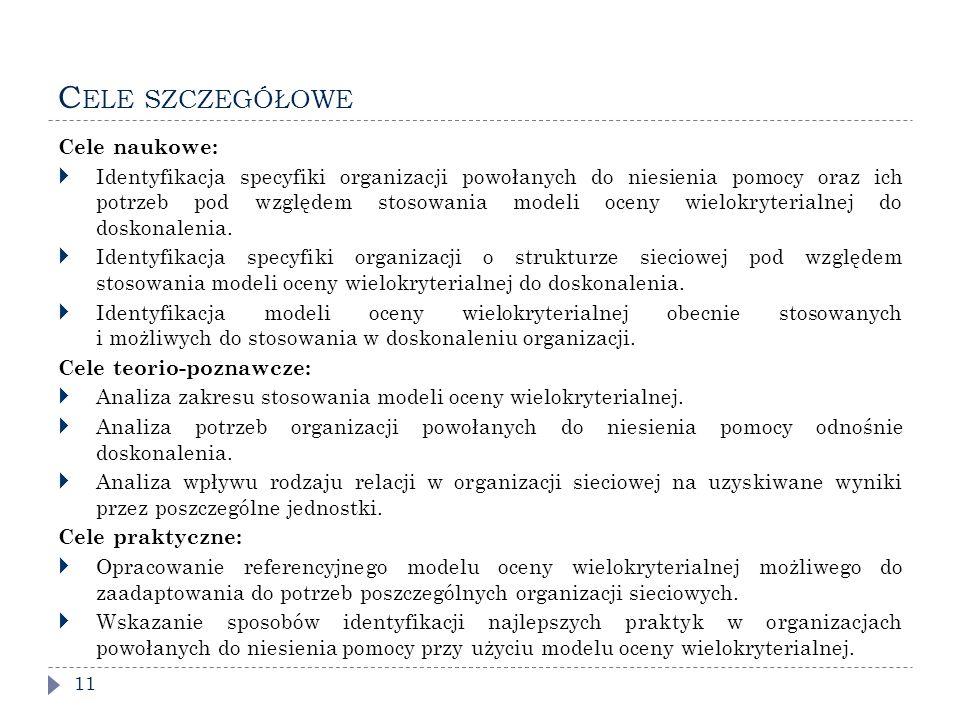 C ELE SZCZEGÓŁOWE 11 Cele naukowe:  Identyfikacja specyfiki organizacji powołanych do niesienia pomocy oraz ich potrzeb pod względem stosowania modeli oceny wielokryterialnej do doskonalenia.