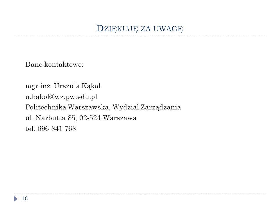 D ZIĘKUJĘ ZA UWAGĘ 16 Dane kontaktowe: mgr inż.