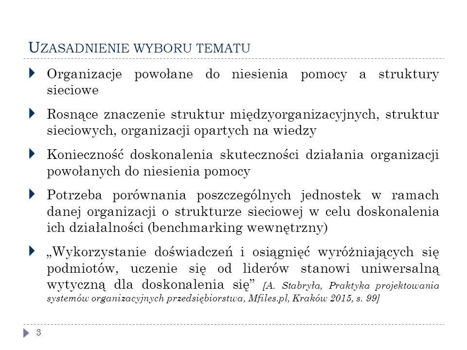 """U ZASADNIENIE WYBORU TEMATU 3  Organizacje powołane do niesienia pomocy a struktury sieciowe  Rosnące znaczenie struktur międzyorganizacyjnych, struktur sieciowych, organizacji opartych na wiedzy  Konieczność doskonalenia skuteczności działania organizacji powołanych do niesienia pomocy  Potrzeba porównania poszczególnych jednostek w ramach danej organizacji o strukturze sieciowej w celu doskonalenia ich działalności (benchmarking wewnętrzny)  """"Wykorzystanie doświadczeń i osiągnięć wyróżniających się podmiotów, uczenie się od liderów stanowi uniwersalną wytyczną dla doskonalenia się [A."""