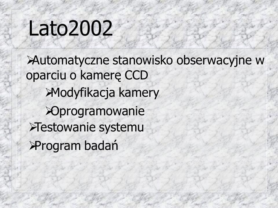 Lato2002  Testowanie systemu  Program badań  Automatyczne stanowisko obserwacyjne w oparciu o kamerę CCD  Modyfikacja kamery  Oprogramowanie