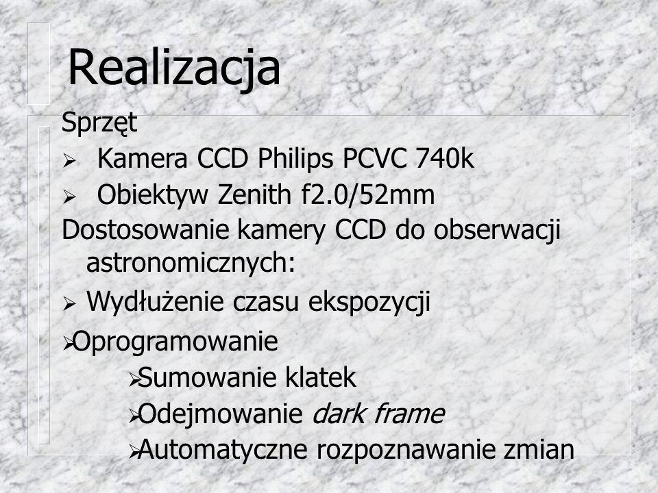 Realizacja Sprzęt  Kamera CCD Philips PCVC 740k  Obiektyw Zenith f2.0/52mm Dostosowanie kamery CCD do obserwacji astronomicznych:  Wydłużenie czasu ekspozycji  Oprogramowanie  Sumowanie klatek  Odejmowanie dark frame  Automatyczne rozpoznawanie zmian
