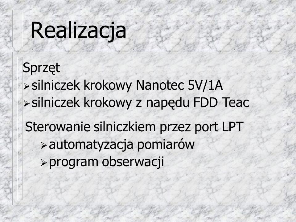 Realizacja Silniczek A Silniczek B Gniazdo męskie LPT 25 pin Zasilanie 5V/1A