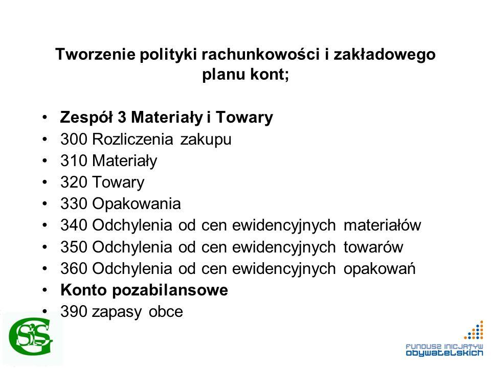 Tworzenie polityki rachunkowości i zakładowego planu kont; Zespół 3 Materiały i Towary 300 Rozliczenia zakupu 310 Materiały 320 Towary 330 Opakowania