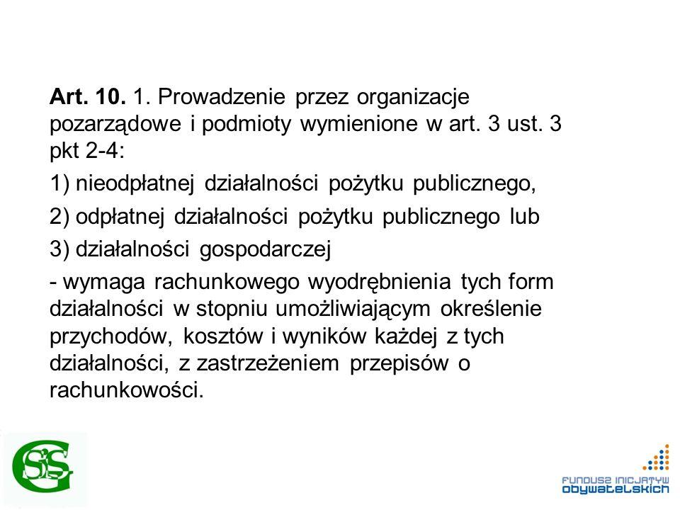 Art. 10. 1. Prowadzenie przez organizacje pozarządowe i podmioty wymienione w art. 3 ust. 3 pkt 2-4: 1) nieodpłatnej działalności pożytku publicznego,