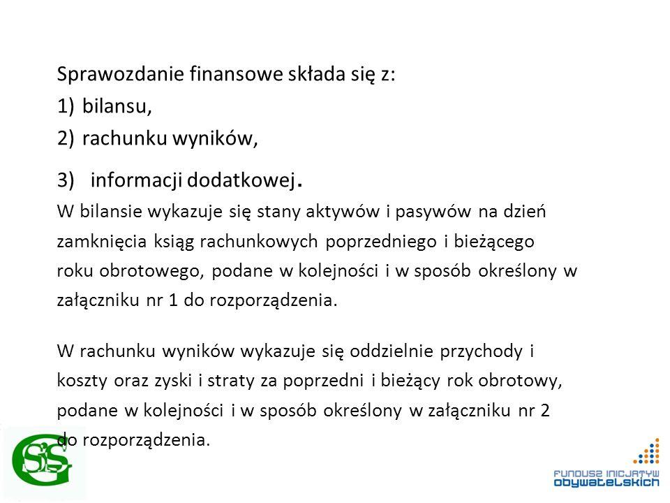 Sprawozdanie finansowe składa się z: 1)bilansu, 2)rachunku wyników, 3)informacji dodatkowej.