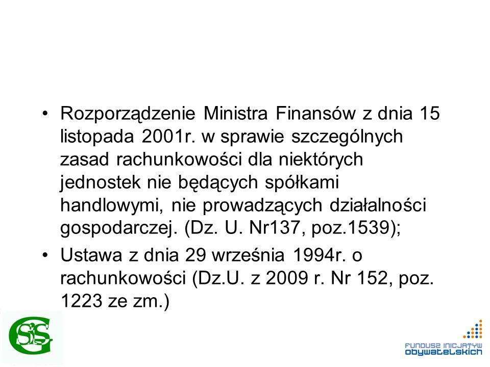 Rozporządzenie Ministra Finansów z dnia 15 listopada 2001r. w sprawie szczególnych zasad rachunkowości dla niektórych jednostek nie będących spółkami