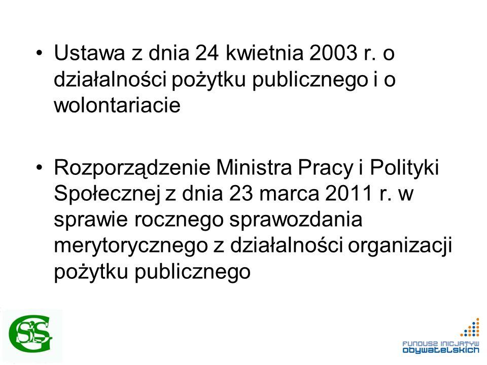 Ustawa z dnia 24 kwietnia 2003 r. o działalności pożytku publicznego i o wolontariacie Rozporządzenie Ministra Pracy i Polityki Społecznej z dnia 23 m
