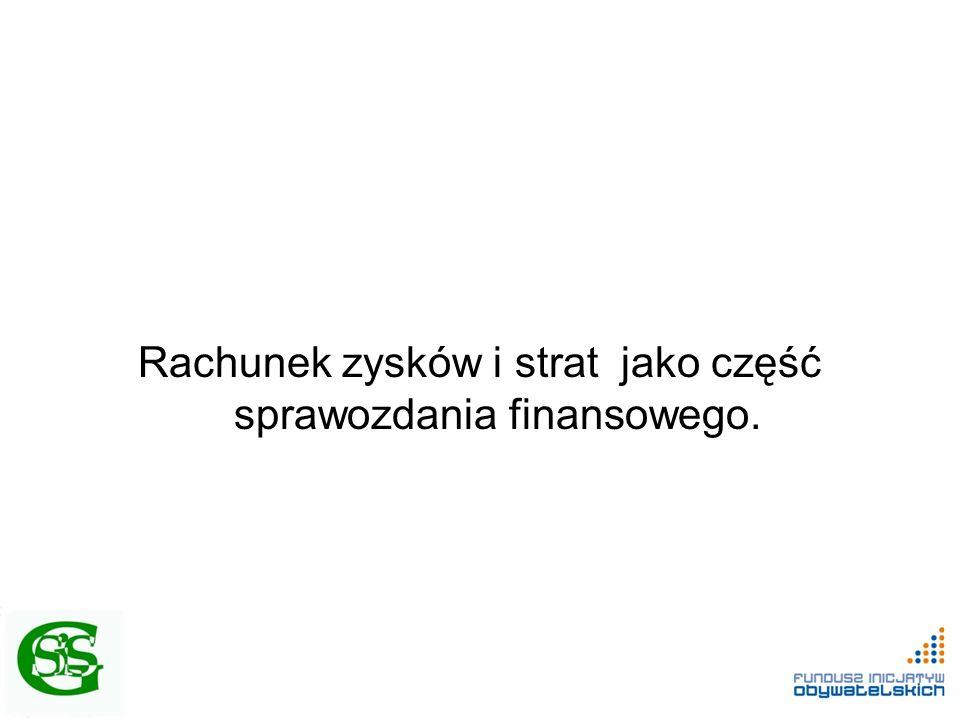 Rachunek zysków i strat jako część sprawozdania finansowego.
