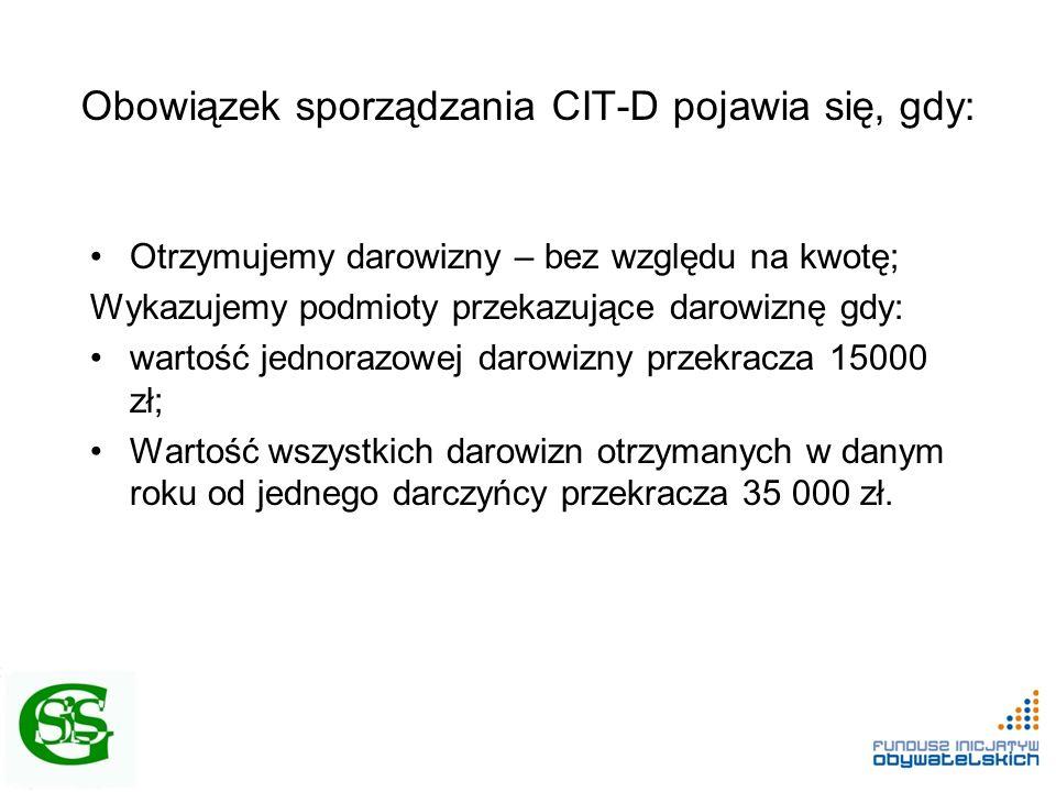 Obowiązek sporządzania CIT-D pojawia się, gdy: Otrzymujemy darowizny – bez względu na kwotę; Wykazujemy podmioty przekazujące darowiznę gdy: wartość j