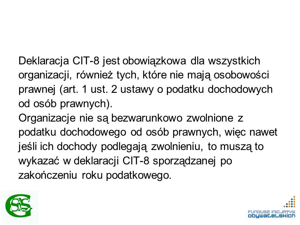 Deklaracja CIT-8 jest obowiązkowa dla wszystkich organizacji, również tych, które nie mają osobowości prawnej (art. 1 ust. 2 ustawy o podatku dochodow
