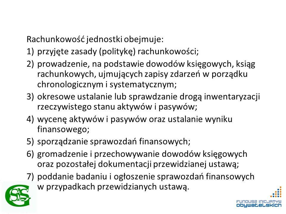 Rachunkowość jednostki obejmuje: 1)przyjęte zasady (politykę) rachunkowości; 2)prowadzenie, na podstawie dowodów księgowych, ksiąg rachunkowych, ujmuj