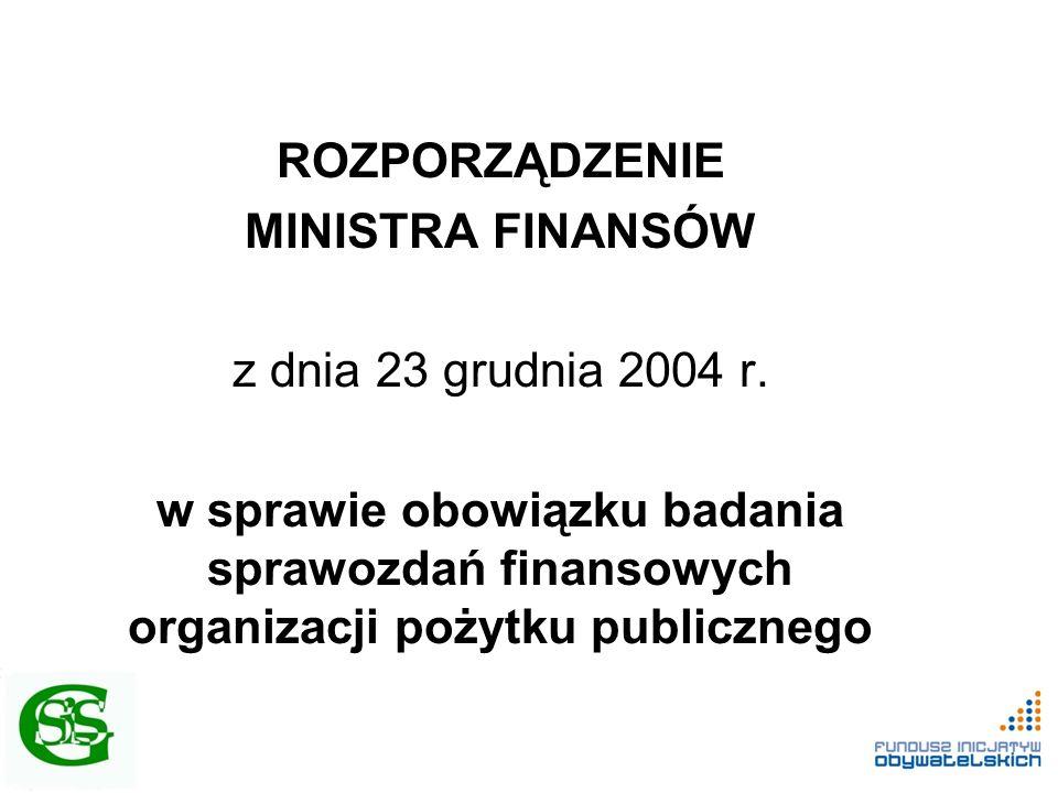ROZPORZĄDZENIE MINISTRA FINANSÓW z dnia 23 grudnia 2004 r. w sprawie obowiązku badania sprawozdań finansowych organizacji pożytku publicznego