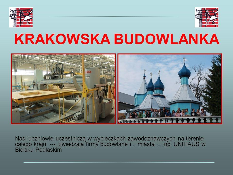 KRAKOWSKA BUDOWLANKA Nasi uczniowie uczestniczą w wycieczkach zawodoznawczych na terenie całego kraju --- zwiedzają firmy budowlane i.. miasta ….np. U