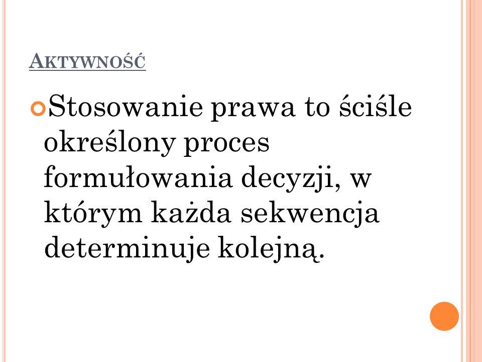 A KTYWNOŚĆ Stosowanie prawa to ściśle określony proces formułowania decyzji, w którym każda sekwencja determinuje kolejną.