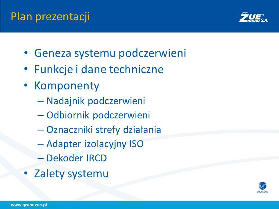 Plan prezentacji Geneza systemu podczerwieni Funkcje i dane techniczne Komponenty – Nadajnik podczerwieni – Odbiornik podczerwieni – Oznaczniki strefy
