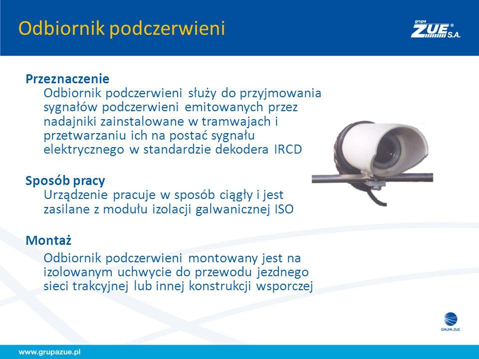Odbiornik podczerwieni Przeznaczenie Odbiornik podczerwieni służy do przyjmowania sygnałów podczerwieni emitowanych przez nadajniki zainstalowane w tr