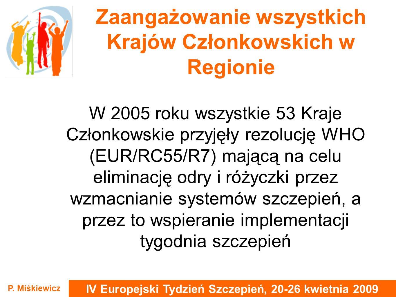 IV Europejski Tydzień Szczepień, 20-26 kwietnia 2009 P. Miśkiewicz Zaangażowanie wszystkich Krajów Członkowskich w Regionie W 2005 roku wszystkie 53 K