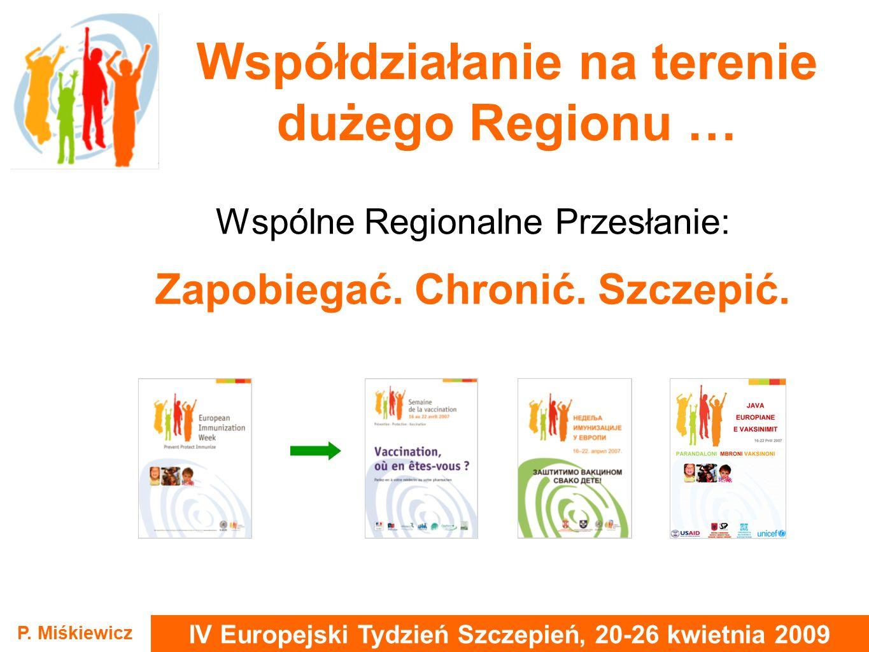 IV Europejski Tydzień Szczepień, 20-26 kwietnia 2009 P. Miśkiewicz Współdziałanie na terenie dużego Regionu … Wspólne Regionalne Przesłanie: Zapobiega