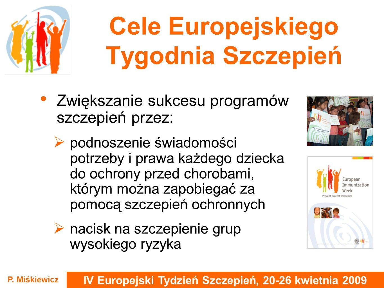 IV Europejski Tydzień Szczepień, 20-26 kwietnia 2009 P. Miśkiewicz Cele Europejskiego Tygodnia Szczepień Zwiększanie sukcesu programów szczepień przez