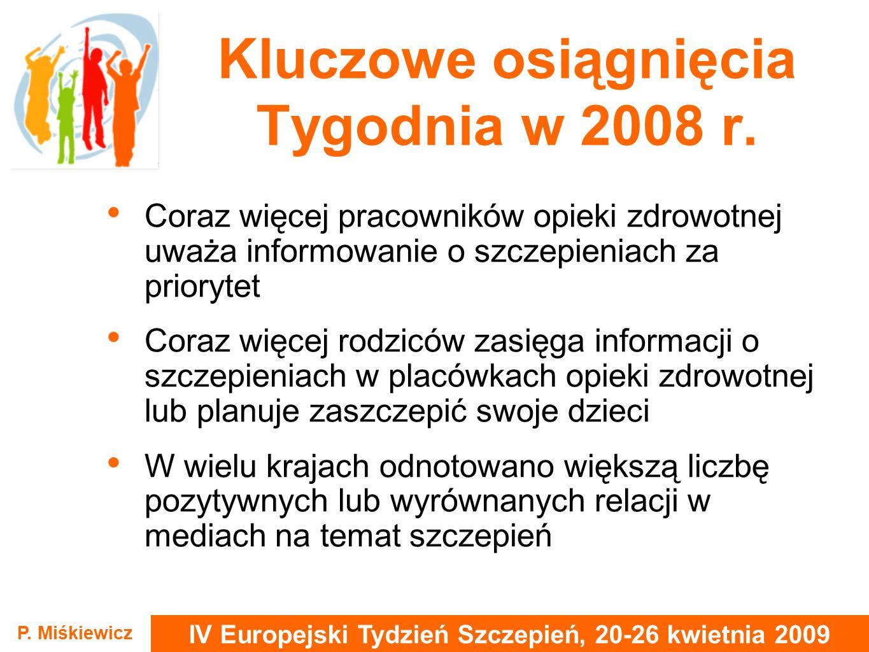 IV Europejski Tydzień Szczepień, 20-26 kwietnia 2009 P. Miśkiewicz Kluczowe osiągnięcia Tygodnia w 2008 r. Coraz więcej pracowników opieki zdrowotnej