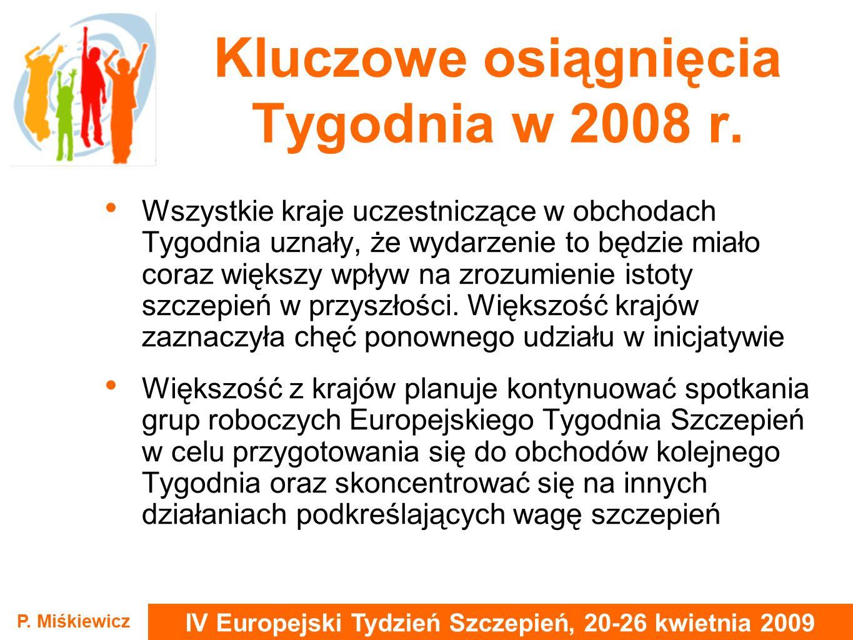 IV Europejski Tydzień Szczepień, 20-26 kwietnia 2009 P. Miśkiewicz Kluczowe osiągnięcia Tygodnia w 2008 r. Wszystkie kraje uczestniczące w obchodach T