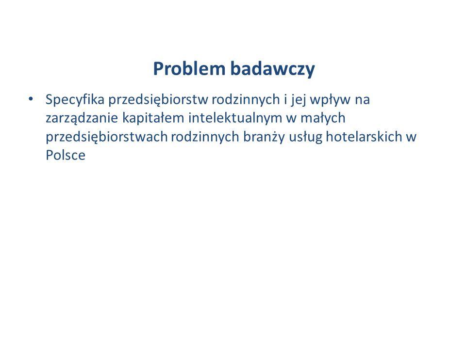 Problem badawczy Specyfika przedsiębiorstw rodzinnych i jej wpływ na zarządzanie kapitałem intelektualnym w małych przedsiębiorstwach rodzinnych branży usług hotelarskich w Polsce
