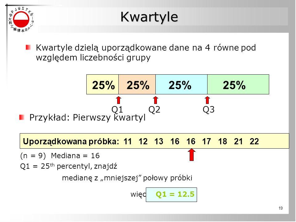 19 Kwartyle Kwartyle dzielą uporządkowane dane na 4 równe pod względem liczebności grupy 25% Uporządkowana próbka: 11 12 13 16 16 17 18 21 22 Przykład