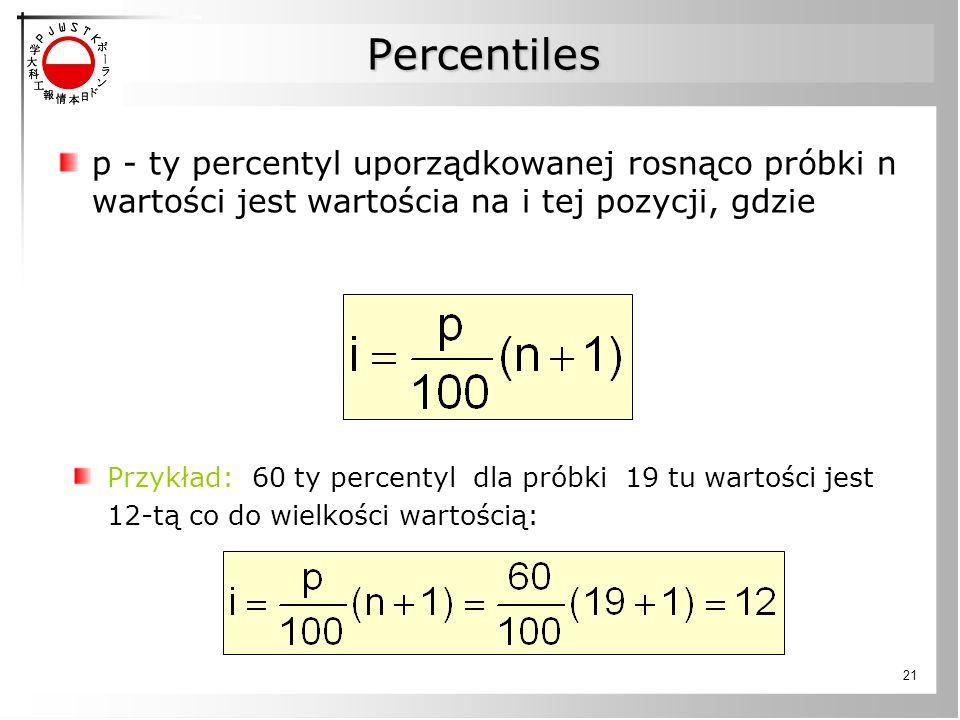 21 Percentiles p - ty percentyl uporządkowanej rosnąco próbki n wartości jest wartościa na i tej pozycji, gdzie Przykład: 60 ty percentyl dla próbki 1